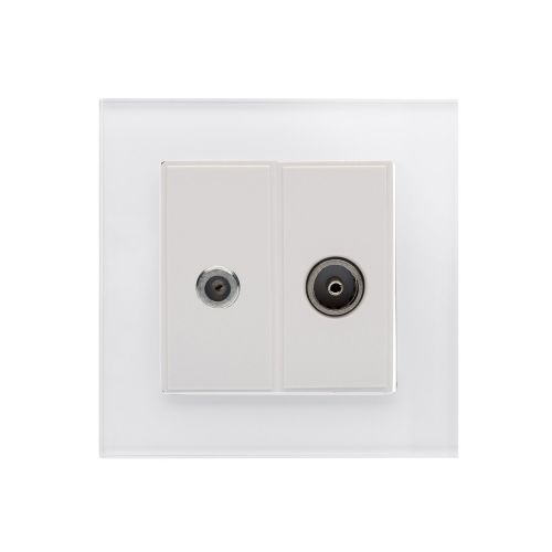 RetroTouch Crystal Satellite/TV Socket White Glass PG 04845